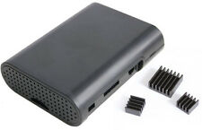 Black Case with 3 Pcs Aluminum Heatsink Cooler Cooling Kit for Raspberry Pi