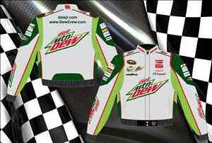 """Dale Earnhardt Jr Nascar Jacket Diet Mountain Dew Grey Green Cotton Twill """"SALE"""""""