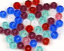 50pcs Disc Mixed Czech Sapphire Aqua Opal White Red Fire Polished Faceted Beads