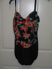 Tropical Honey One Piece  EA6782180 Black/Floral Size 10 NWT