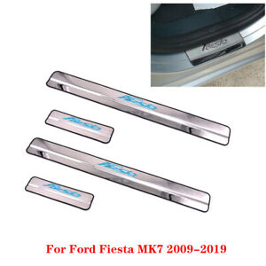 Stainless Door Sill Kick Scuff Plate Protector Trim For Ford Fiesta MK7 09-19