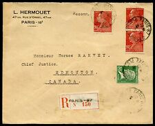FRANCE 1930 REGISTERED COVER WITH INTERESTING FRANKING TO CANADA