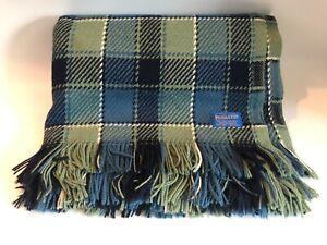 "Vintage Pendleton Blue/Green 100% Wool Plaid Throw Blanket 55"" x 66""  CLEAN!"