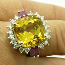 Lemon Yellow 9.93 Carat Cushion Cut Golden Beryl, CZ & Ruby Beautiful Women Ring
