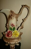 "Capodimonte Exquisite Vintage Porcelain Large pitcher vase 15 3/4"" TALL"