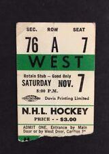 1964 New York Rangers Vs Toronto Maple Leafs Hockey NHL Ticket Jacques Plante