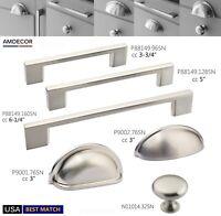 Amdecor Satin Nickel Kitchen Cabinet Hardware Pull Knob Closet Bin Cup Handle