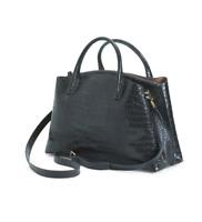 IACUCCI New Women's Made In Italy Croc Leather Black Satchel Handbag Bag NWT