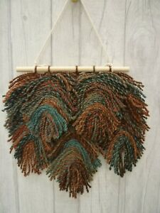 Brown Blue Multi Macrame Feather Wall Hanging Pagan Boho Wicca House Home Gift