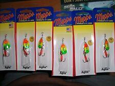 LOT OF 6 MEPPS AGLIA SPINNER SIZE  1  1/8 oz. B1-HFT