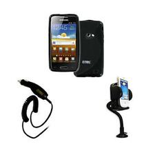 for Samsung Galaxy Beam I8530 Black Durable TPU Skin Case Cover+Mount+Charger