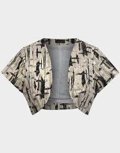 Topshop Open Front Bolero/Cropped Jacket, Gold, UK Size 8-16, BNWT, RRP £25.00