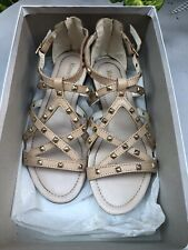 RUSSELL & BROMLEY Perfect Summer Studded Nude Flat Summer Sandals Shoes S.37 UK4