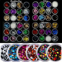 6 Boxes ROUND GLITTER PAILLETTE DOT STAR Mini Sequins Confetti Loose Nail Art 3D