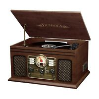 Victrola Nostalgic Classic Wood 6-in-1 Bluetooth Turntable Entertainment Cent...