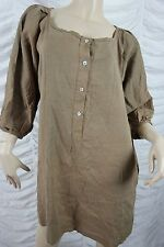 NELL green taupe linen silk blend long sleeve tunic dress size free GUC
