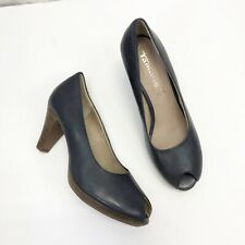 Tamaris Women's Sz 40 Blue Leather Pumps Classic Wood Stacked Heel Peep Toe US 8