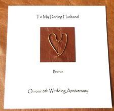 8th Wedding Anniversary Card Bronze Anniversary Leather Wife Husband