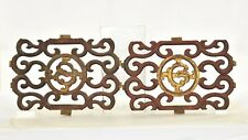 Two Antique Chinese Red & Gilt / Gilded 2 Side Carved Wooden Panel, 19th c