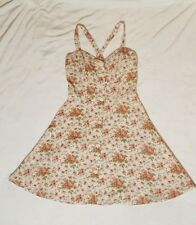 Lucky Brand Floral White Dress XS Extra Small Rockabilly Sleeveless Fit & Flare