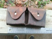 VTG 1940 SWISS ARMY LEATHER SET DOUBLE CARTRIDGE AMMO POUCH SCHMIDT RUBIN