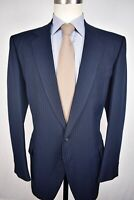 1980's Kuppenheimer Navy Blue Pinstripe Polyester Two Button 2 Pc Suit Size: 44L