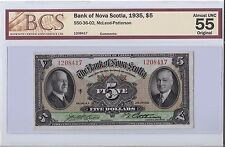 Bank of Nova Scotia 1935, $5 Bill   AU55   B26