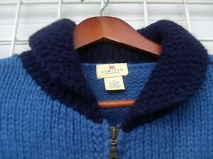 The Limited Blue Wool Hand Knit Reindeer Nordic  Zip Cardigan Sweater Womens S