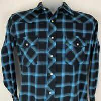 Wrangler Medium Pearl Snap Blue Plaid Flannel Shirt LS Cotton Western Cowboy