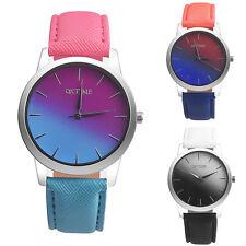 Casual Women Girls Rainbow Pattern Leather Band Analog Quartz Dress Wrist Watch