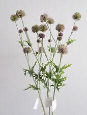 3 x Artificiale Cottage Garden Cardi Rosa-BALL Cardo Heads-Spiky foglie
