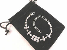 Silver Plated Bracelet Modern Rhinestone Bars Design Bridal, Prom or Party