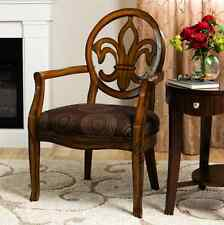 Accent Chairs For Living Room With Arms Dining French Fleur de Lis Brown