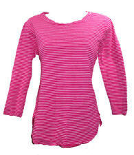 New FRESH PRODUCE Hot Pink Striped Top sz Small V Neck 3/4 Sleeves