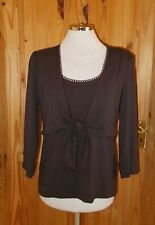 COUNTRY CASUALS chocolate brown stretch 3/4sleeve cardigan tunic top BNWT M12-14