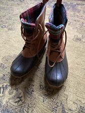 Duck Boots Sporto dark brown and plaid flannel lace up rubber rain boots size 10