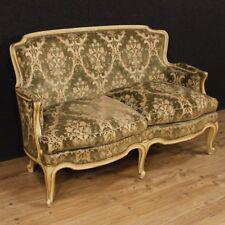 Canapé laqué meuble bois doré salon italien style ancien velours antiquité 900