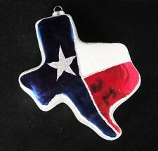 Texas Lone Star State Figural Glass Ornament Red White Blue Patriotic Glitter