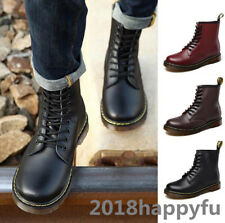 Unisex  LACE Up Punk Gothic Military Combat Motorcycle Leather Rock Boots Shoes