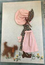 Holly Hobby-like Artwork made from Fabric/Ribbon/Fun-Fur/Fel t/Yarn-Needlepoint.