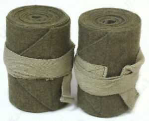 WW2 British Army Puttees - Green Wool Wraps Gaiters Pair Uniform Soldier Repro