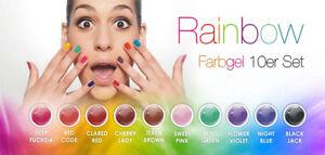 N&BF | UV Farbgel Set Rainbow 10x5ml Farben - Nagel Gel Sparset Nagel Color bunt