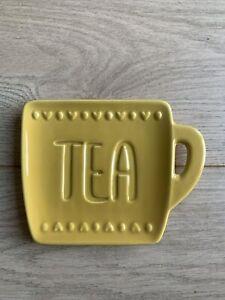 Yellow ceramic Spoon Rest tea bag holder Kitchen heart large