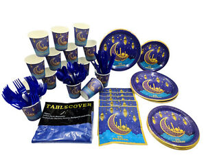 16 pcs Eid Mubarak party Set Plates Napkins Cups Folks Knives Spoons Table Cover