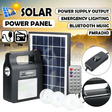 Waterproof Solar Power Panel Generator System LED Light Lamp 5V USB Charger FM