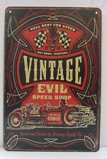 "Plaque Métal Tôlée Vintage GARAGE ""Hell Bent For Speed"" 20 X 30 cm Neuf Emballé"