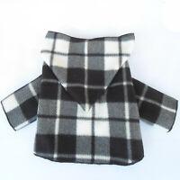 Black White Plaid Small Dog Hoodie Little Dog Coat Jacket Size M S XS XXS XXXS