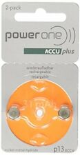 PowerOne Accu plus Size 13 Rechargeable Hearing Aid Batteries, 1 Pack