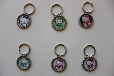 Hello Kitty bottle cap key chains Lot of 6 party favors charms Free Shipping! D