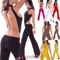 Overall tuta intera schiena nuda  jumpsuit donna tutina pantaloni clubwear BA2